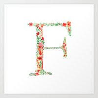 Floral Monogram Letter F Art Print