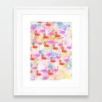 Red Hot Flamingo  Framed Art Print