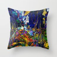 Beautiful Road In The Ni… Throw Pillow