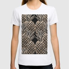 Faux Gold Leaf Pineapple… Womens Fitted Tee Ash Grey SMALL