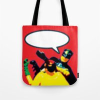 Robin and Bat Man in Action Tote Bag