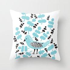 Birdie Bird Blue Throw Pillow