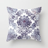 Blueberry Damask Throw Pillow
