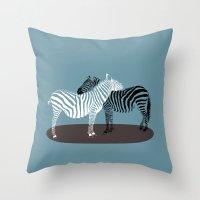Zebra Embrace Throw Pillow