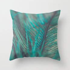 Turquoise Feather Close Up Throw Pillow