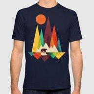 Bear In Whimsical Wild Mens Fitted Tee Navy SMALL