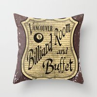 Vintage Vancouver Billiard Sign Throw Pillow