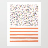 Flowers & Stripes Art Print