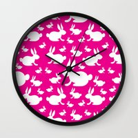 Bunny Pattern Pink and White Wall Clock