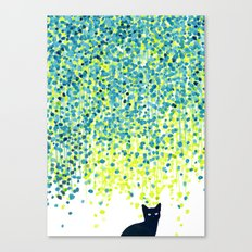 Cat in the garden under willow tree Canvas Print