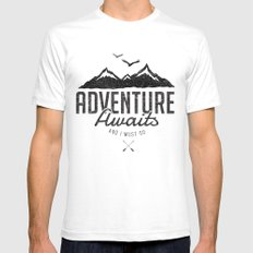 ADVENTURE AWAITS SMALL White Mens Fitted Tee