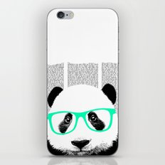 Panda with teal glasses iPhone & iPod Skin