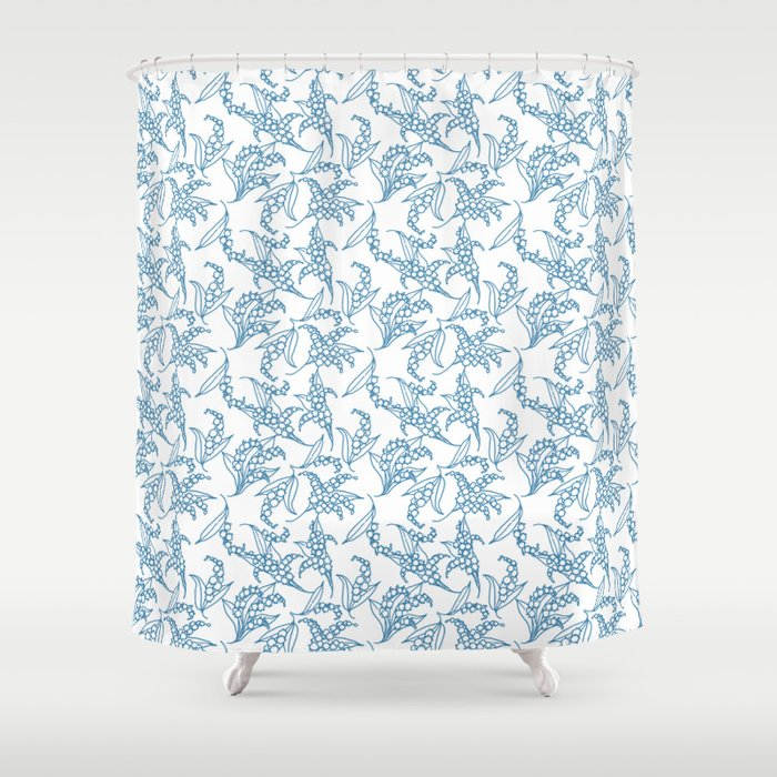 Vintage style Lily of the Valley Pattern Shower Curtain by