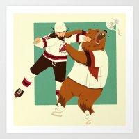 The Hockey Fight Art Print
