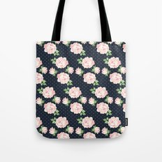 Blue and Pink Vintage Rose Pattern Tote Bag