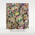 Sugar Skull Collage Shower Curtain