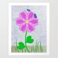 Une fleur avec deux papillons Art Print