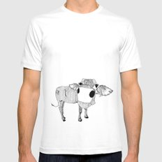 Cowface White Mens Fitted Tee SMALL