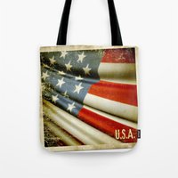 Grunge sticker of United States flag Tote Bag