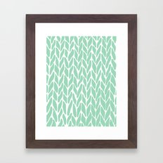 Hand Knitted Mint Framed Art Print