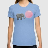 Jumbo Bubble Gum Womens Fitted Tee Tri-Blue SMALL