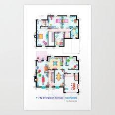 The house of Simpson family - Both floorplans Art Print