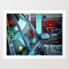 Sign Reflection at the Cafe Tabooley in Austin Art Print