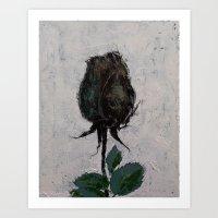 Black Rosebud Art Print