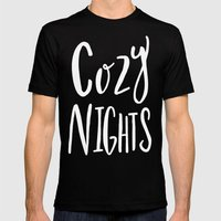 Cozy Nights - Hand lettered Art Typography Mens Fitted Tee Black SMALL