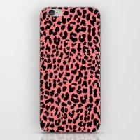 Neon Coral Leopard iPhone & iPod Skin