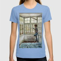Front Window Womens Fitted Tee Tri-Blue SMALL