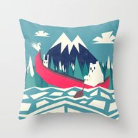 Yeti And Bunny Going On … Throw Pillow
