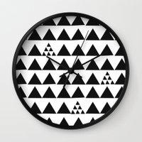Black geometric print Wall Clock