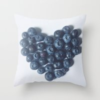 Blueberry Love Throw Pillow