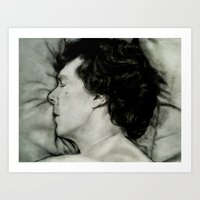 Sherlock Asleep - Pencil and Charcoal Art Print