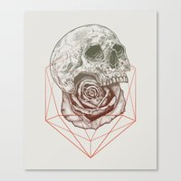 Skull Rose Geo Canvas Print