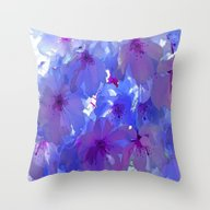 Blue Cherry Blossoms Throw Pillow