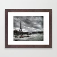 The Eiffel Tower and the Seine - Paris cityscape - hdr Framed Art Print