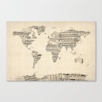 Old Sheet Music World Ma… Canvas Print