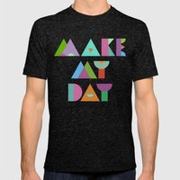 Make My Day. Mens Fitted Tee Tri-Black SMALL