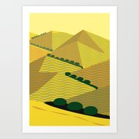California Hills and Oaks in Yellow Ochre Art Print