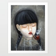 Art Print featuring Chinese Girl Smoking A P… by Nataliette