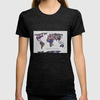 Star Map. Never Stop Exp… Womens Fitted Tee Tri-Black SMALL