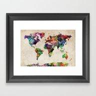 World Map Urban Watercol… Framed Art Print