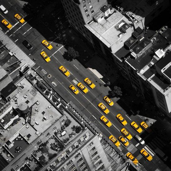New York City, Yellow Cabs   B/W  Art Print