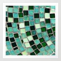 Green Tiles - an abstract photograph Art Print