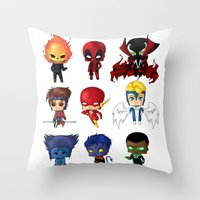 Chibi Heroes Set 2 Throw Pillow