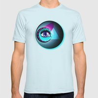 Halftone Eyeball Mens Fitted Tee Light Blue SMALL