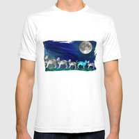 MOON CATS Mens Fitted Tee White SMALL