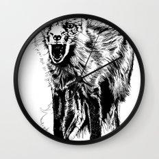Angry Fox (b&w) Wall Clock